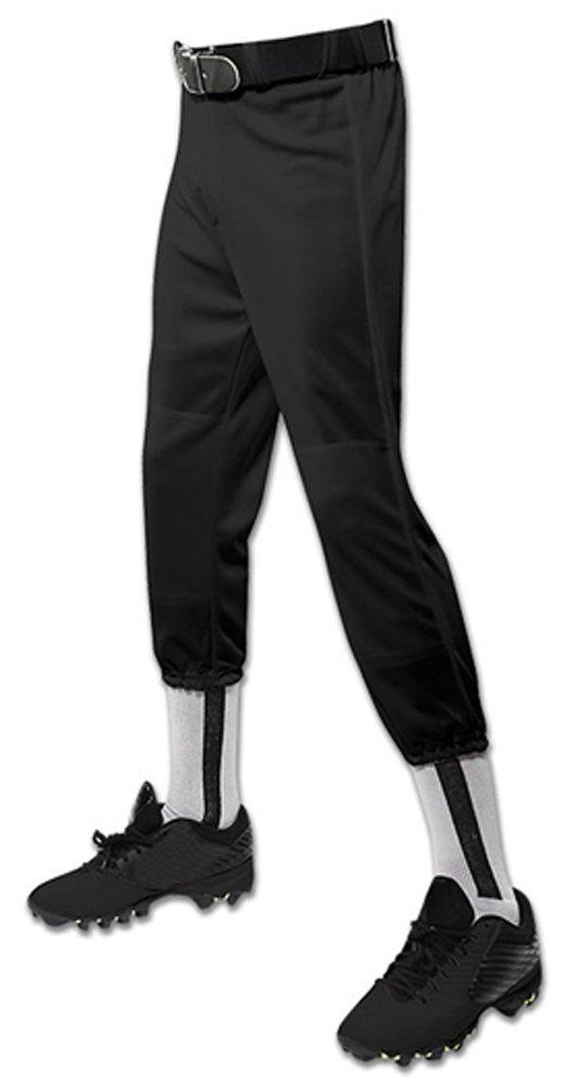 Champro パフォーマンスプルアップ野球パンツ ベルトループ付き ユース用 B01N0WYGGF Medium|ブラック ブラック Medium
