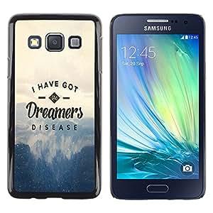 ROKK CASES / Samsung Galaxy A3 SM-A300 / DREAMERS DISEASE - TYPOGRAPHY / Delgado Negro Plástico caso cubierta Shell Armor Funda Case Cover