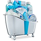 Spa Gift Basket with Refreshing Ocean Bliss Fragrance - Best Mother's Day, Birthday or Anniversary Gift for Women -Bath Gift Set Includes Shower Gel Bubble Bath, Bath Salts Bath Bombs and More!