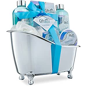 Spa Gift Basket with Refreshing Ocean Bliss Fragrance - Best Graduation, Wedding, Birthday or Anniversary Gift for Women -Bath Gift Set Includes Shower Gel Bubble Bath, Bath Salts Bath Bombs and More!