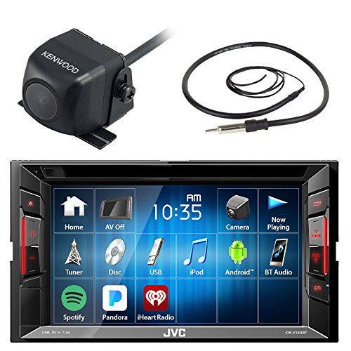 JVC KWV120BT 6.2″ Touch Screen Car CD DVD USB Bluetooth Stereo Receiver Bundle Combo With Kenwood CMOS-22P Car Universal Waterproof Rear-View Backup Parking Camera, Enrock 22″ AM/FM Radio Antenna
