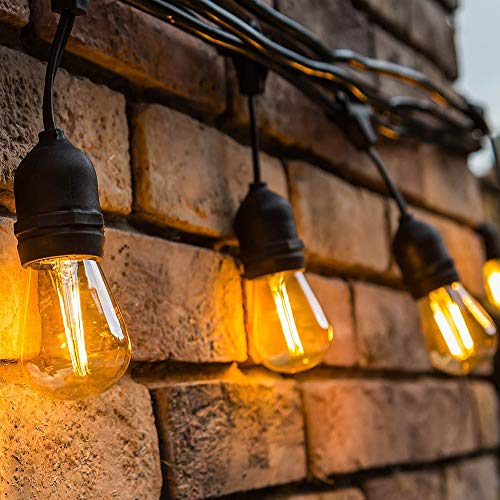 Outdoor Waterproof LED String Lights Vintage Hanging Edison Bulbs by TIKLOK, 24FT 10 Bulbs 1W Commercial Grade Strand Lights for Patio Garden Porch Birthday Party Decoration(with Extra Spare Bulbs) ()