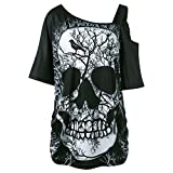 HGWXX7 Women Off Shoulder Skull Print Short Sleeve Irregular T-Shirt Top Blouse (XL, Black-2)