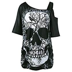 Tifenny Women S Fashion Sleeveless Off Shoulder Skull Head Print Blouse T Shirt Tops Summer Casual Tee Loose Shirt