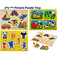 FunBlast (Set of 3 Puzzle Board) Wooden Colorful Learning Educational Board for Kids Set of 3 Puzzle Board Includes Animals & Vehicles