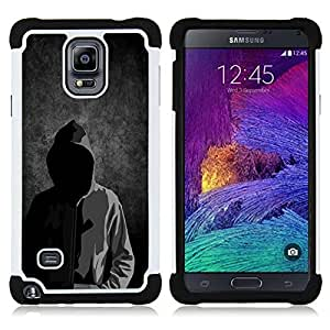 BullDog Case - FOR/Samsung Galaxy Note 4 SM-N910 N910 / - / SWEATSHIRT MAN ANONYMOUS HOOD MASK FACELESS /- H??brido Heavy Duty caja del tel??fono protector din??mico - silicona suave