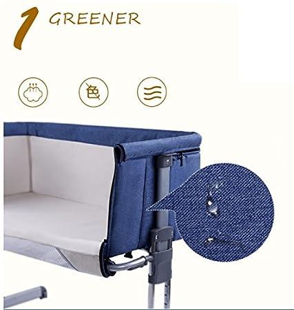 Textilhome - Cuna de Colecho bebe con Colchón, anclajes a cama y 6 alturas. Color Azul: Amazon.es: Hogar