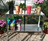Potting Table-Potting Benches for Outside- Silver Galvanized Steel with Shelf - If You Love to Garden and to Plant, This is The Perfect Potting Bench for You