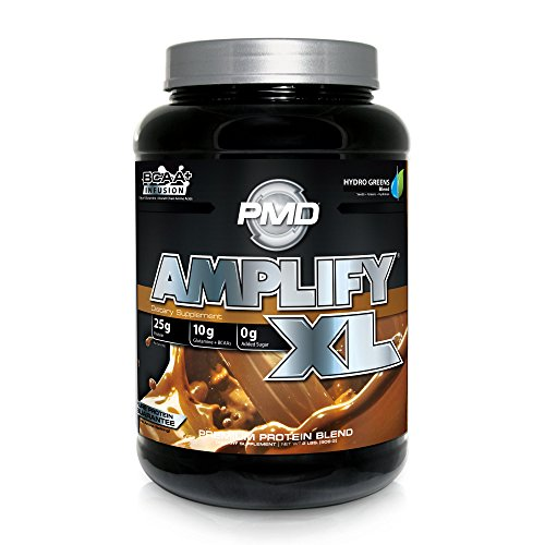 PMD Sports Amplify XL Superior Protein Supplement – Glutamine and Whey Protein Matrix with Superfood for Muscle, Strength and Recovery – Double Chocolate Explosion – 24 Servings