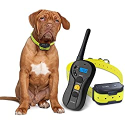 Remote Controlled Dog Training Collar ,Rechargeable and Waterproof ,660yd Blind Operation with Tone ,Vibration ,Shock Electronic Collar - Fit for All Size Dogs (10Lbs - 100Lbs)