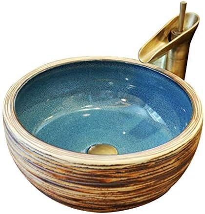 浴室設備アクセサリ 容器シンク 浴室容器シンク 芸術盆地セラミック 家庭用洗面 太いラウンドバスルーム洗面 (Color : B.Sink+Faucet, Size : 60*40*15cm)