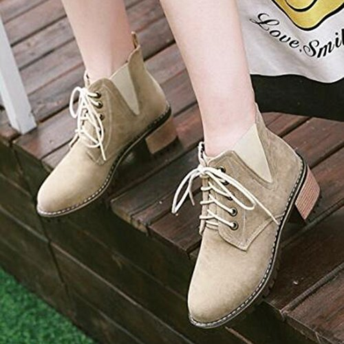 Easemax Womens Trendy Frosted Round Toe Platform Mid Chunky Heel Lace Up Boots Beige mdzquI