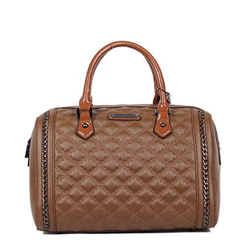 Quilted Eco Leather Boston Bag (Brown)