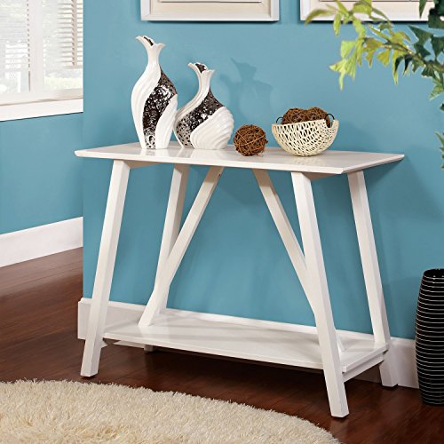 Furniture of America Jellistevy Solid Wood Hall-Entry Way Sofa Table White Review