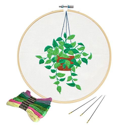 Unime Full Range of Embroidery Starter Kit with Partten, Cross Stitch Kit Including Embroidery Cloth with Color Pattern, Bamboo Embroidery Hoop, Color Threads, and Tools Kit (Scindapsus)