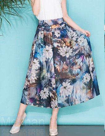 Las mujeres imprimieron los pantalones anchos de la pierna los pantalones flojos de la falda de la sección delgada de la sección del verano pantalones flojos de la marea E