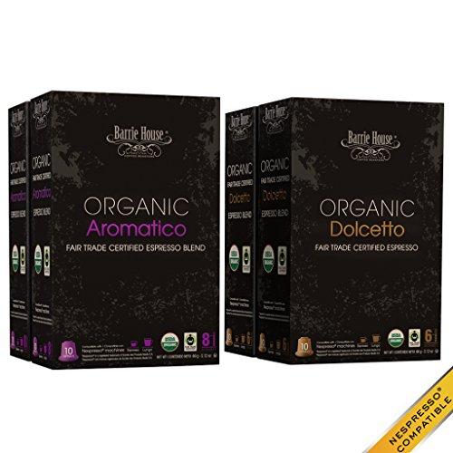 Nespresso Compatible Barrie Residence Fair Trade Organic Espresso Capsules 40 ct: Aromatico / Dolcetto --Fits in Nespresso Original Line