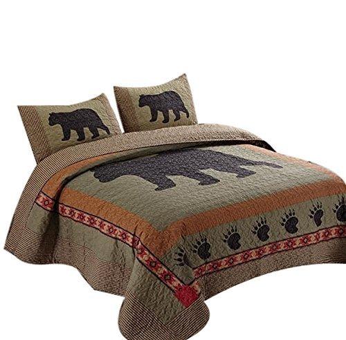 Quilt Paw Bear (Duke Imports DQ649CK Bear 3Piece Bear & Paw Microfiber Quilt Set,,Cal King)