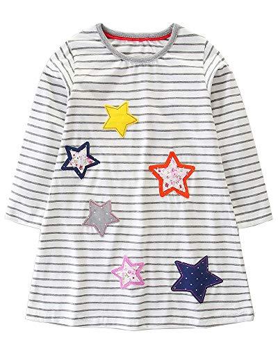 Cotton Dress for Toddler Girls Dresses Striped Dress Applique Dress for Girls White -