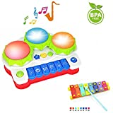 EXCOUP Baby Drums Piano Music Toys Keyboard Toddler Musical Instrument, Enhance Your Child's Hearing and Creativity, Best Birthday Festival Gift - with Mini Xylophone and Flashing Lights