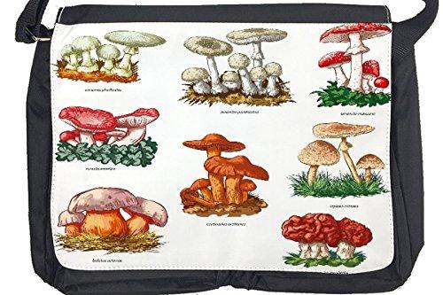 Borsa Tracolla Piante Funghi Stampato