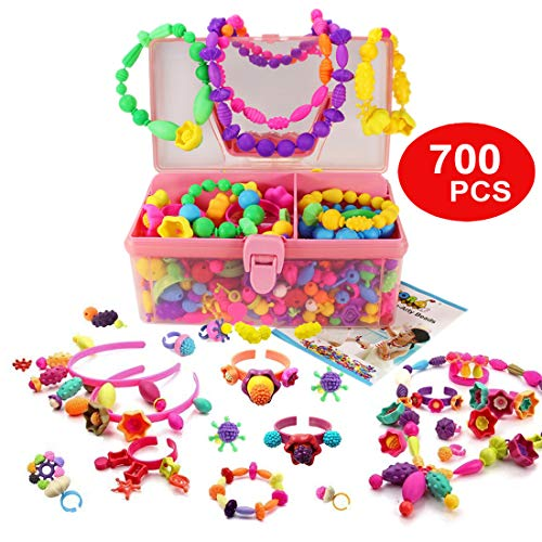 WTOR 700Pcs Pop Beads Toys DIY Jewelry Making Kit for Necklace Ring Bracelet Art and Crafts Toy Gifts for 3 4 5 6 7 Year Old Girls Toys