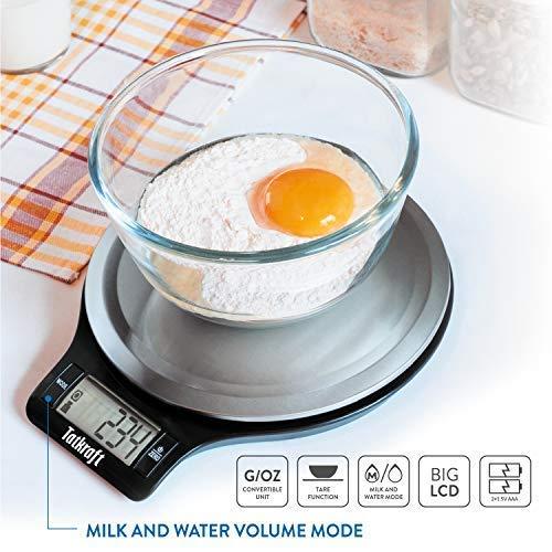 Tatkraft Classic Báscula de Cocina para Alimentos Digital 5Kg Cómoda Acero Inoxidable