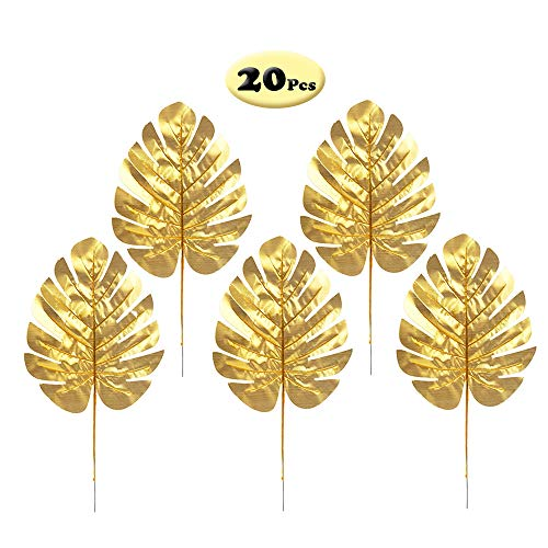 - R STAR 20 Pcs Golden Palm Leaves Artificial Tropical Palm Leaves for Hawaiian Luau Party Decoration, M