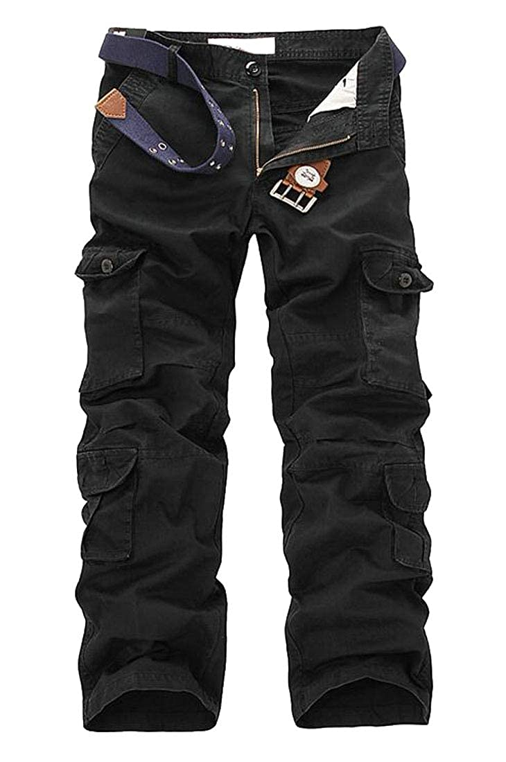 GRMO Men Straight Leg Casual Cotton Mid Rise Multi-Pockets Cargo Pants Trousers