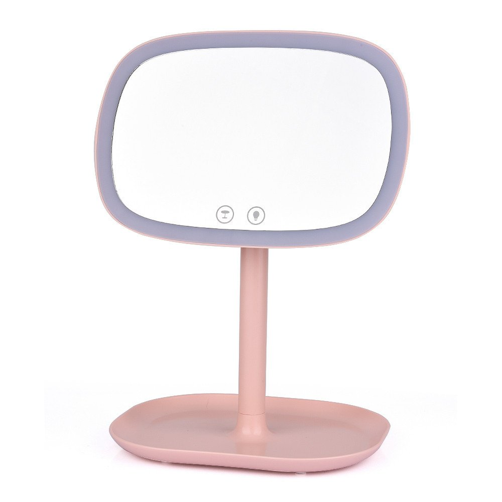 GF Wood Multifuntional Led Makeup Mirror Portable 10X Magnifyiny Compact Desklamp Touch Screen Cosmetic Mirror With Light Illumination,Pink