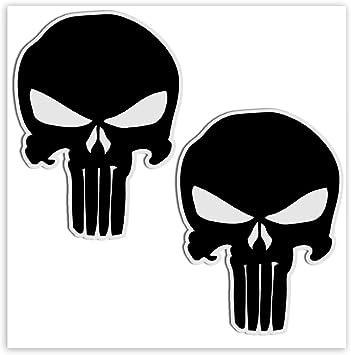 Skinoeu 2 Stück Vinyl Aufkleber Autoaufkleber Punisher Skull Schädel Totenkopf Schwarz Knochen Horror Stickers Auto Moto Motorrad Fahrrad Helm Fenster Tuning B 27 Spielzeug