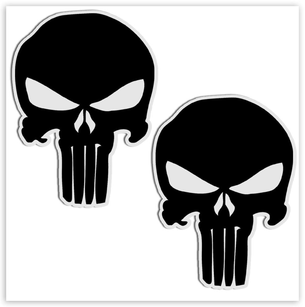 2 Skull Skateboarding Vinyl Stickers