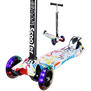 Scooter for Kids - EEDan 3 Wheel T-bar Adjustable Height handle Kick Scooters with Max Glider Deluxe PU Flashing Wheels Wide Deck for Children from 2 to 14 Year-Old(Grafitti)