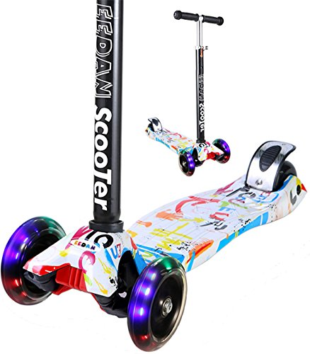 EEDAN Scooter for Kids 3 Wheel T-bar Adjustable Height Handle Kick Scooters with Max Glider Deluxe PU Flashing Wheels Wide Deck for Children from 5 to 14 Year-Old (Grafitti) - New Duo Lock Snaps