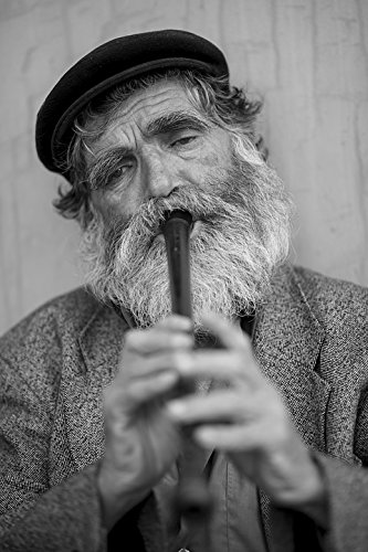 Home Comforts Canvas Print Kaval Old Loneliness Flute Music Beard Male Stretched Canvas 10 x 14