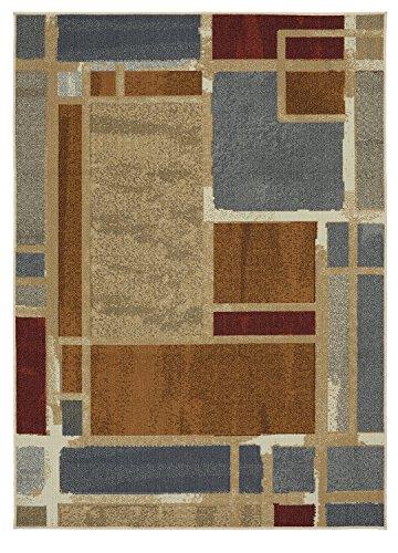 Mohawk Home Soho Regnar Geometric Squares Printed Area Rug, 5'x7', Blue 8' Latex Blocks