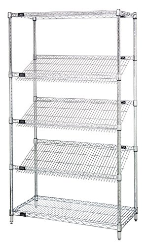 Quantum Storage Systems 2436SL6C 5-Tier Wire Shelving Unit with 3 Slanted Shelves, Stationary, Chrome Finish, 400 lb. load capacity, 36