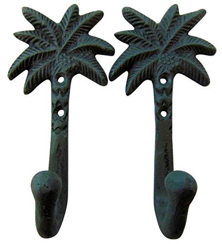 Tropical Tiki Decor - Set of 2 Cast Iron Palm Tree Hooks Tropical Tiki Home Decor