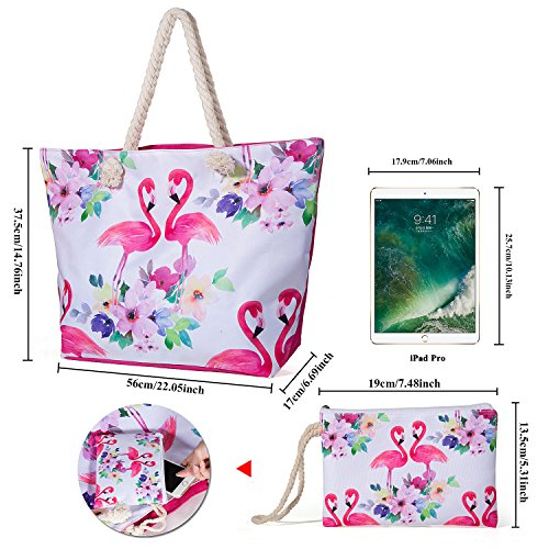 Bag Zip Handbag Shoulder and Bag Travel Tote Oversized with Girls Pink Handle Shopping ZeWoo Bag for Ladies Rope Beach Canvas 7RwXqq6