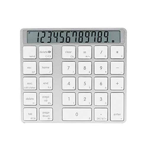 NAMEO Bluetooth Numeric Keypad Rechargeable, Aluminum Wireless Bluetooth Numeric Keypad with Screen Built-in Calculator for iMac/MacBook/and PC/Laptop by Nameo