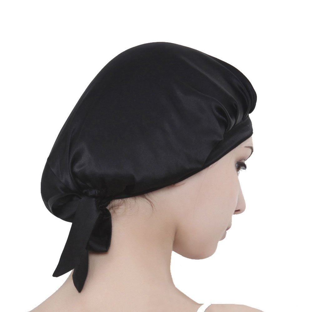 FMS Universal Pure Silk Night Cap With Breathable Elastic Band For Hair Beauty