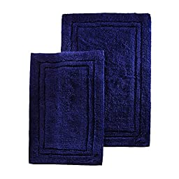 Two Piece Superior Luxurious Navy Blue Bath Rug Set, Mate, Non-Skidding, Non-Reversible Features Solid Color And Border Pattern, Simple Elegance Design, Combed Cotton Material, Sky Blue, Teal