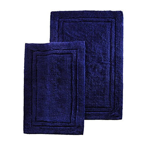 Concentric Rectangle Green Rug - Two Piece Superior Luxurious Navy Blue Bath Rug Set, Mate, Non-Skidding, Non-Reversible Features Solid Color And Border Pattern, Simple Elegance Design, Combed Cotton Material, Sky Blue, Teal