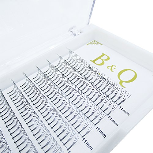 Premade Volume Fans Eyelash Extensions 12 Rows/Tray Short Stem Russian Volumes Lashes Extensions Fans Individual Cluster Eyelash Extensions (3D-D curl-0.07, 11mm)
