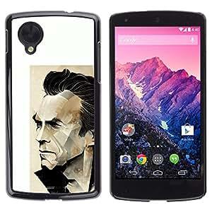 YiPhone /// Prima de resorte delgada de la cubierta del caso de Shell Armor - Arnold Action Actor Poster White - LG Google Nexus 5 D820 D821