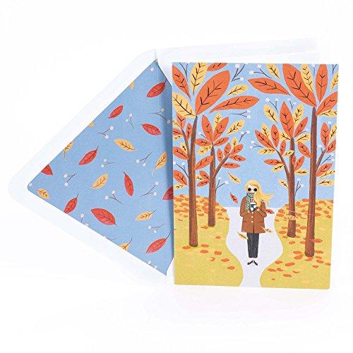 Hallmark Signature Thanksgiving Card (Girl with Coffee in Fall Scene) ()