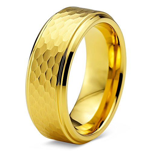 Charming Jewelers Tungsten Wedding Band Ring 8mm for Men Women Comfort Fit 18K Rose Gold Plated Hammerd Step Beveled Edge Brushed Polished Size 11.5 ()