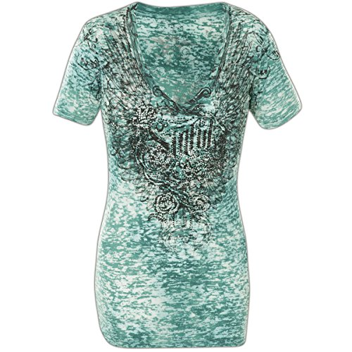 Sinful mujer para turquesa By Rosy Camiseta Dagger color Affliction talla S 7wT6q55x