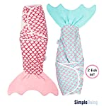 Simple-Being-Fish-Swaddle-Blanket-Adjustable-Wearable-Infant-Baby-Wrap-Set-Soft-Cotton-Newborn-Receiving-Sleep-Sack-Unisex-Boy-and-Girl-Registry-Must-Have-Pink-and-Blue-Mermaid