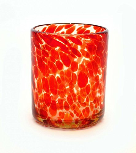 SET OF 4, RED CONFETTI DOUBLE OLD FASHIONED ROCKS GLASSES, 12 OUNCES. RECYCLED GLASS. HANDMADE. ()